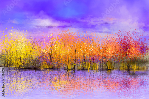 Oil painting landscape - colorful autumn trees. Semi abstract image of forest, trees with yellow, red leaf and lake. Autumn, Fall season nature background. Hand Painted landscape, Impressionist style