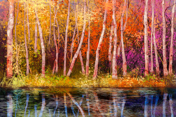 Obraz Oil painting landscape - colorful autumn trees. Semi abstract image of forest, trees with yellow - red leaf and lake. Autumn, Fall season nature background. Hand Painted landscape, Impressionist style