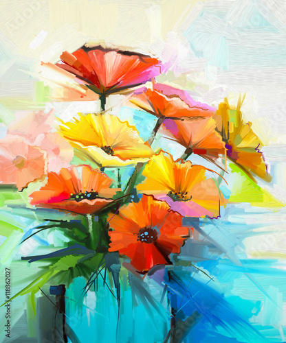 Photo  Oil painting spring flower background