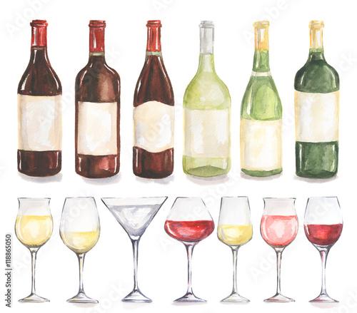 zestaw-butelek-wina-i-szkla-akwarela-piekne-butelki-i-szklanki-do-menu-dekora