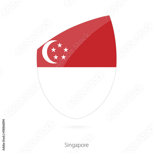 Photo  Flag of Singapore in the style of Rugby icon.