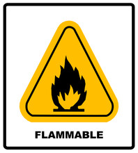 Fire Warning Sign In Yellow Tr...