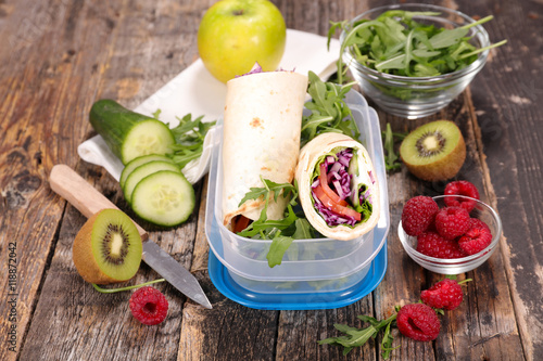Fototapeta sandwich,healthy lunch box obraz na płótnie