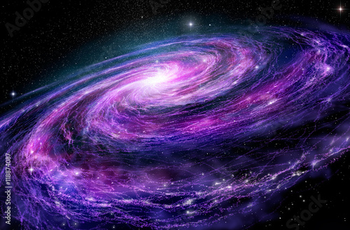 Photo Spiral galaxy, 3D illustration of deep space object.