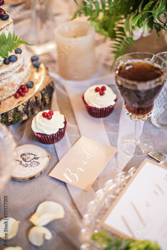 Poster Dairy products Barn wedding, the design and decoration Candy bar table and honeymooners. Rustic.
