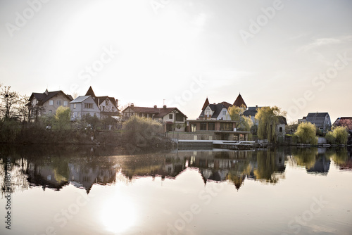 Fotobehang Kanaal Houses near the river