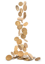 Heap Of Gold Coins Falling To The Ground