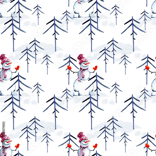 Cotton fabric Christmas, Penguin, snowman, watercolor.
