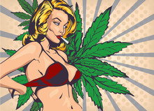 Smoking Lady Undressed, Take Off Bra. The Marijuana Leafs On The Background, Vector Image