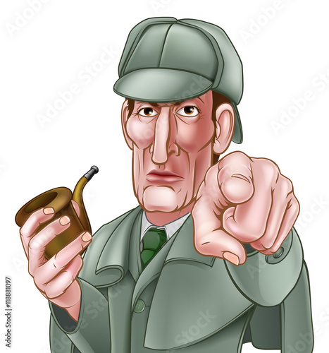 Fotografia  Sherlock Holmes Pointing Cartoon