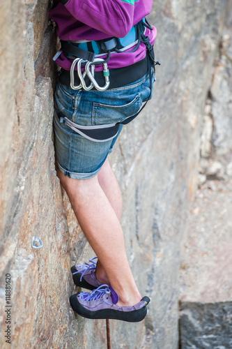 Fotografie, Obraz  Climber feet close-up