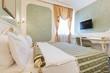 Interior of luxury double bed hotel room