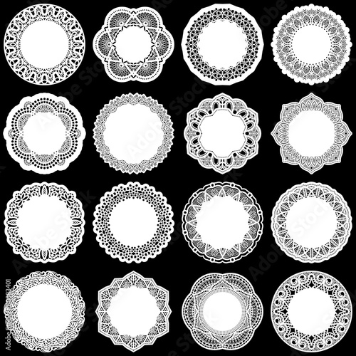 Valokuva  Large  set of design elements, lace round paper doily, doily to decorate the cak