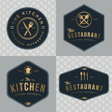 Set Of Badges, Banner, Labels And Logos For Food Restaurant, Foods Shop And Catering In Golden Color With Seamless Pattern. Design Elements. Vector Illustration.