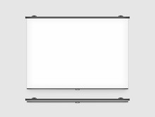 Blank Projector Screen Mockup On The Wall. Projector Display Mock Up. Projection Presentation Clear Monitor On Wall. Slide Show Front Design. Slideshow Billboard Banner Frame. Projection Background.