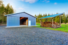 Farm Blue Barn Shed And Gravel...