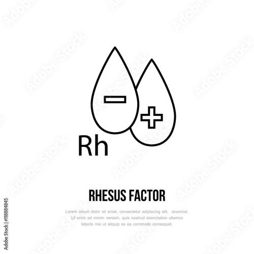 Modern Vector Line Icon Of Rhesus Factor Blood Test Linear Logo