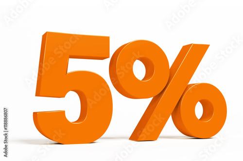 Fotografía  Orange 3d 5 % percent text on white background for autumn sale campaigns
