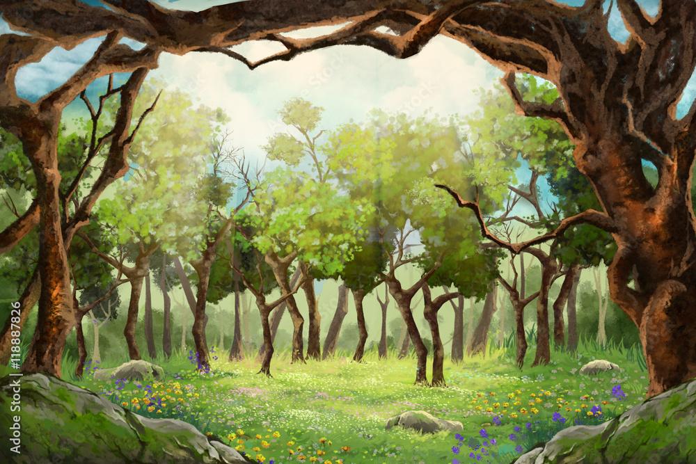 Małe Pole Kwiatowe w Polanie Lasu. Gra wideo w Digital CG, grafika, ilustracja koncepcja, realistyczne tło stylu Cartoon