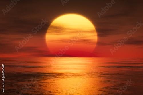 Foto op Canvas Baksteen a sunset over the sea