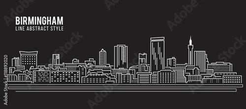 Cityscape Building Line art Projekt ilustracji wektorowych - miasto Birmingham