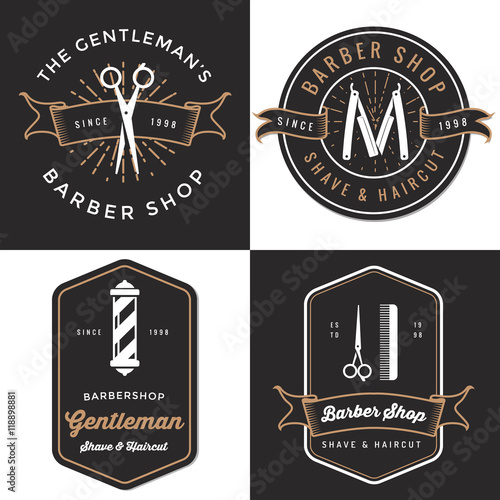 set of men s barber shop logo badges label tag design in vintage