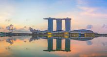 Singapore,Singapore – April 2016 : Aerial View Of Singapore City Skyline In Sunrise Or Sunset At Marina Bay, Singapore