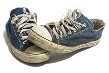 Old Blue Dirty Sneakers Isolat...