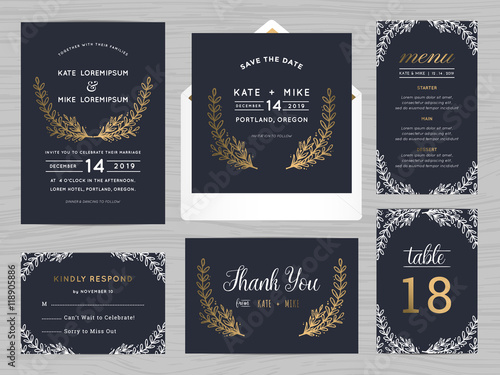 Valokuvatapetti Set of wedding suite template decorate with flowers in navy blue color includes save the date, wedding invitation, wedding menu, RSVP, thank you card, table number