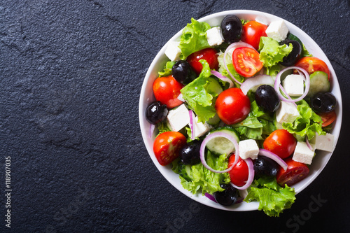 Photo of fresh greek salad Fototapeta