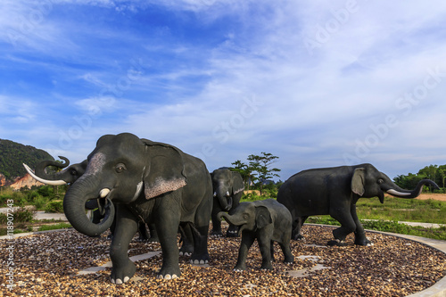 Fotografia, Obraz  elephant statue in public park at Phang Nga Province in south Thailand