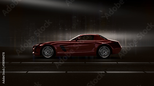 red car Fotobehang