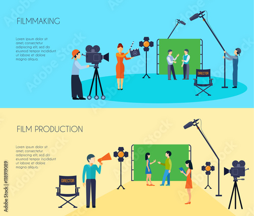 Filmmaking Process 2 Flat Horizontal Banners