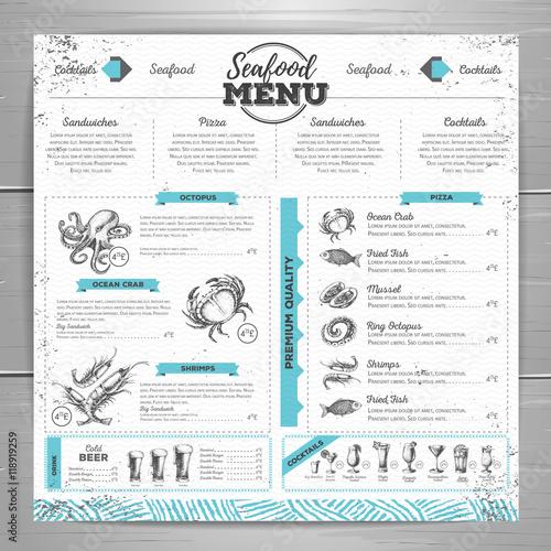 Photo  Vintage seafood menu design.