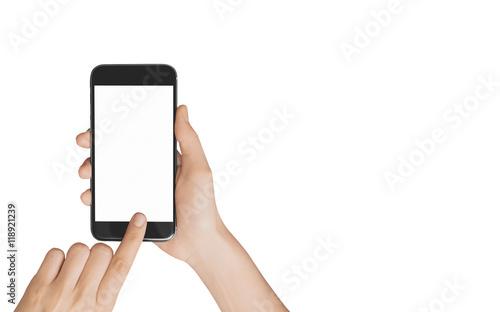 Vászonkép Smartphone in mano chiamata schermo acceso
