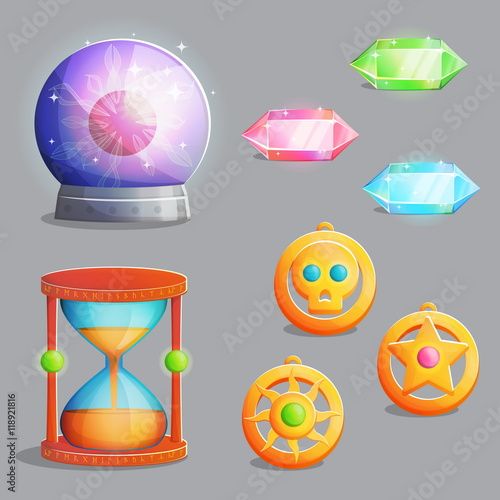 A collection of items for magic witch equipment set  Crystal
