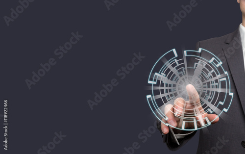 Fototapety, obrazy: Mann zeigt mit Finger auf touch screen