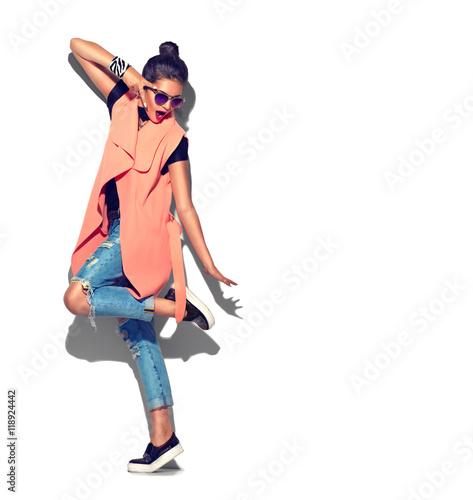 Fashion model girl full length portrait isolated on white background Wall mural
