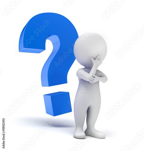 Stampe  Männchen mit blauem Fragezeichen 1