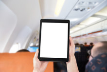 Passenger Using The Tablet In A Plane, Blank Screen For Copy Spa