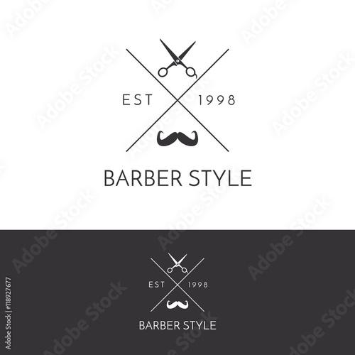 Garden Poster Retro sign Barber Shop Vintage Logo Design Template v.5