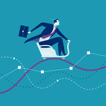 Ride. Businessman Sits On A Roller Coaster That Rides On The Chart. Concept Business Illustration