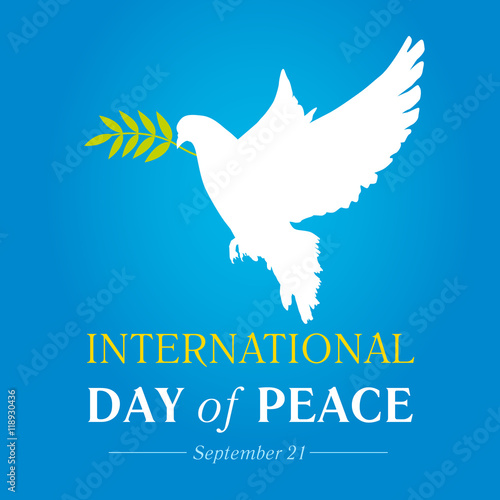 Foto  Peace dove with olive branch for International Peace Day banner