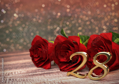 Fotografia  birthday concept with red roses on wooden desk