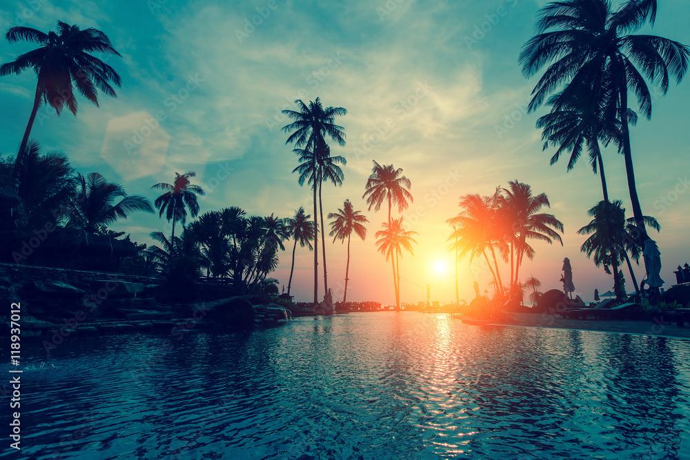 Fototapeta Fantastic sunset, palm trees in tropical beach.