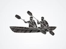 People Kayaking Designed Using Black Grunge Brush Graphic Vector.