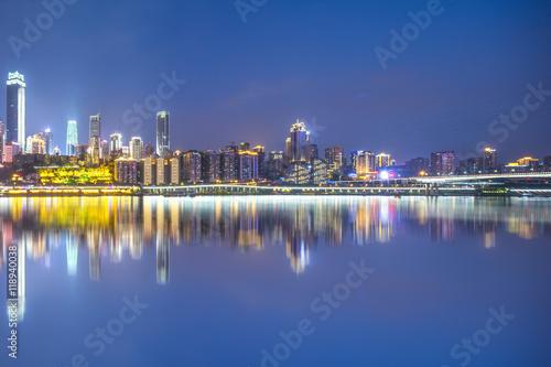 Photo Stands night scene of chongqing from water