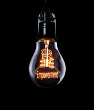 Hanging Lightbulb With Glowing Empowerment Concept.