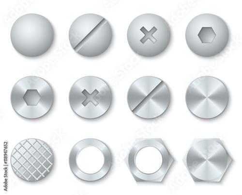 Fotografie, Obraz  Steel screws, nuts, bolts, rivets heads vector set