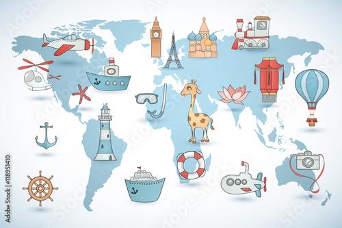 Fototapeta Zestaw podróżny. Kolekcja ikon na mapie świata.
